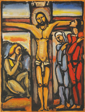 A warm-colored oil painting of Christ on the cross, with his followers below him.