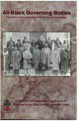 Cover page for All-Black Governing Bodies report, center photo is of congregational leaders from Goodwill Presbyterian Church in Mayesville, SC in 1934
