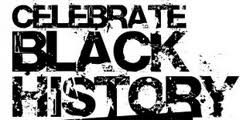 Textured black text on white background: Celebrate Black History