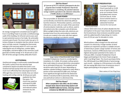 Crosslake Presbyterain Church energy projects geothermal and wind power units