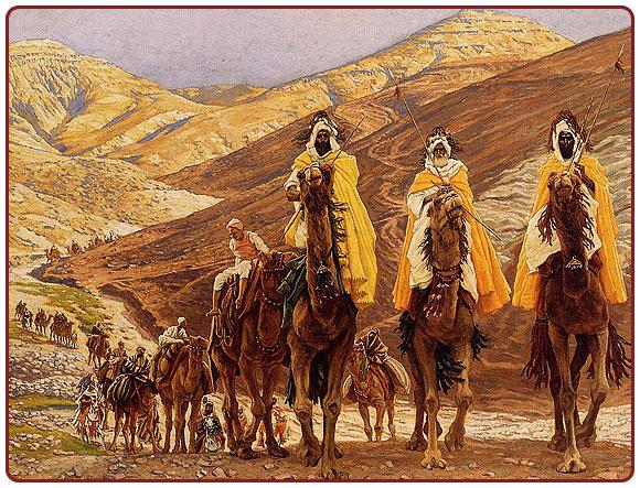 A large caravan travels by camel and winds its way through a desert landscape toward the viewer.  These are the magi seeking to pay homage to the Christ child.  They extend well into the distance and around mountains/hills.