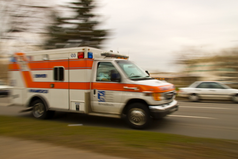 ambulance speeding along