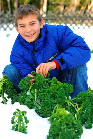 boy with kale in the snow