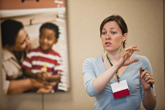Steph Larsen leading a workshop