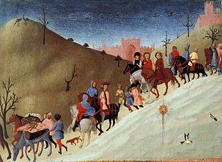 Painting depicts a large caravan of magi descending a hill with horses, persons walking and a large company engaged in merriment as they travel west to see the Christ child.