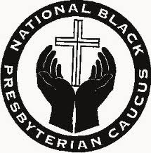 Seal of the NBPC has a circle of black containing the full name of the organization in white text, inside the circle is a pair of hands lifted up and slightly open, holding a cross