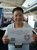 GACOR Moderator, Alma-Jean Marion with her statement of support for inclusion.