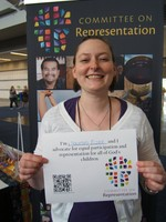 GACOR member, Heather Walchar with her statement of support for inclusion.