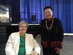 Cindy Bolbach, Moderator of the 219th General Assembly (2010) and Alma-jean Marion, Moderator of the General Assembly Committee on Representation back stage of the 220th General Assembly (2012).