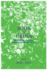 front cover of the Book of Order 2011-2013 has a green and white cover depicting dense foliage with the title appearing in dark blue type accented by an outline in yellow