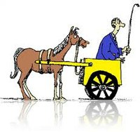 "Cartoon of ""putting cart before the horse"""