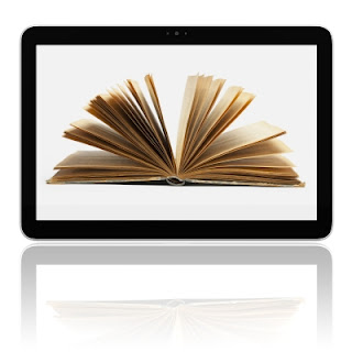 Open book displayed on tablet computer screen