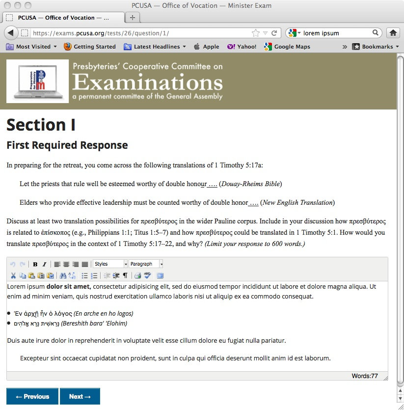 Screen shot of online exegesis exam