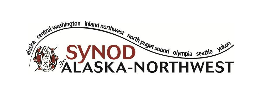 Logo for the Synod of Alaska-Northwest, loaves and fishes depicted in a Pacific Northwest indigenous manner with curving text containing names of the seven presbyteries looping around the name of the synod in bold text red and black.