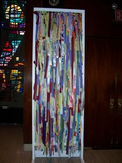 Ribbon of Hope tapestry - nine-foot tall