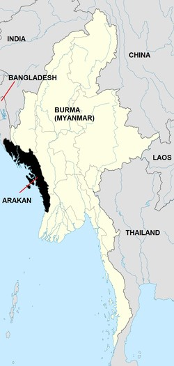 Map of Burma showing location of Rohingya