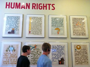 Human Rights display at UN