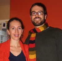 Rev. Sarah Henkel and her husband Will Summers wearing orange for worship and as public witness