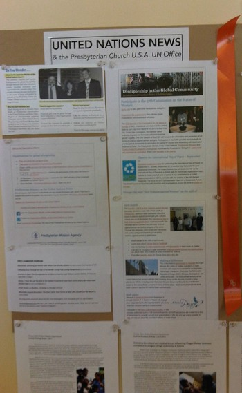 Bulletin board with information about Presbyterian Ministry at the United Nations