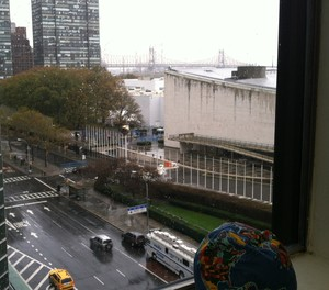 Picture of UN and 1st Avenue in the Rain