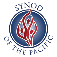 logo for the synod of the pacific has three red flame-like figures in the center of a blue circle background joined with a small white cross  surrounded by the name of the synod in blue text