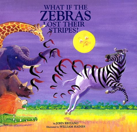 "The front cover of ""What If the Zebras Lost their Stripes?"".  On a purple background with bright yellow moon, a zebra is running and leaving his stripes behind as if they are unravelling, looking on are an aghast giraffe, elephant, rhino, lion and a bemused crocodile."