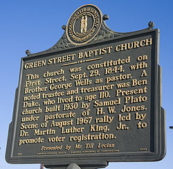 A sign for Green Street Baptist Church