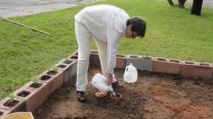 McGregor Learning Garden adding to the soil to prepare for planting