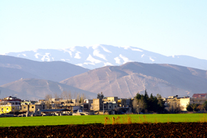 A landscape view of the mountains of Mt. Hermon.