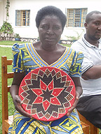 Judith with one of the hand-woven plates.