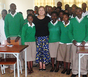 Nancy with peace club students at Groupe Scholaire, Remera.