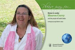 A prayer card with Sharon Curry