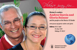 A prayer card with Andres Garcia and Gloria Salazar