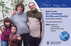 A prayer card with Kathleen Griffin and her family.