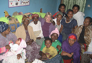 Marilyn with fellow Bible study members and children
