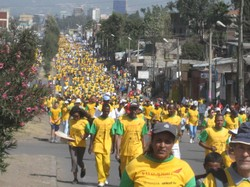 Runners wearing yellow shirts with green sleeves stretch far into the distance.