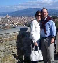 Photo of Tom and Judy overlooking Florence with the Duomo in the background