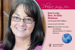 A prayer card with Jo Ella Holman