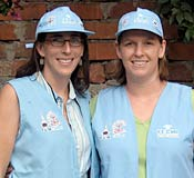 Photos of two women wearing matching light-blue hats and vests.