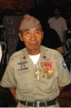 Sam Guerrero in his military uniform, with several medals.