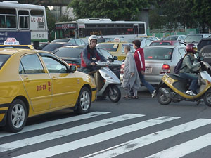 A scene from traffic in Taipei.