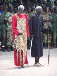 Local chuefs in southern Sudan, standing beside each other.