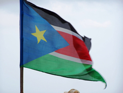 Flag of the Republic of South Sudan waving in the wind.