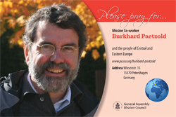 A prayer card with Burkhard Paetzold