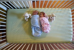 Photo of two babies, one wrapped in blue, the other in pink; next to each is a small stuffed bear.