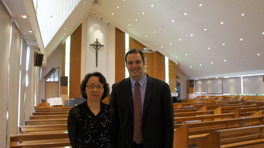 Jonathan Seitz with Elder Eugenia Lee in an empty church.