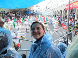 Photo of Chenoa wearing a clear plastic poncho.