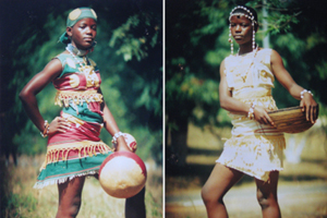 Two photos of a girl wearing traditional Cameroonian outfits.