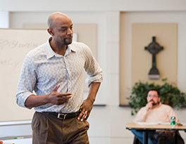 Dr. Reggie Williams teaching ethics at McCormick Courtesy of Frank Yamada
