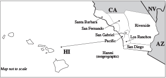 Map of Synod of Southern CA & HI
